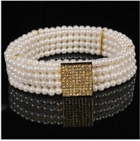 Narrow beaded chain belt - Retail Fashion Pearl diamond waist chain fashion lady elastic belt New Arrival