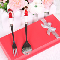 Wholesale DHL bride and groom style Wedding Gift Spoon Fork Set Favor in red gift box Ceramic Spoon Curently