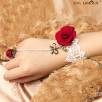 Wholesale Lace Red Rose Flower Bowknot Women Bridal Jewelry Wedding Party Retro Gothic Harness Bracelet With Ring Chain Cuff Wristband Finger Ring Set