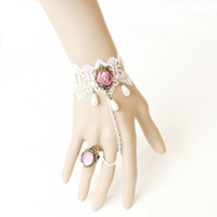 Wholesale Pink Rose Lace Faux Pearl Rhinestone WS Women Jewelry Wedding Retro Gothic Harness Bracelet Ring Chain Cuff Wristband Finger Ring Set