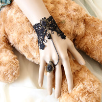 Wholesale Lace Black Faux Pearl Women Jewelry Bracelets Wedding Party Retro Bracelet Ring Chain Cuff Wristband Finger Ring Set WS