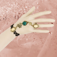Wholesale Black Lace Green Rose Flower Crusyal Women Jewelry Wedding Party Retro Gothic Harness Bracelet WS Chain Cuff Wristband Finger Ring Set