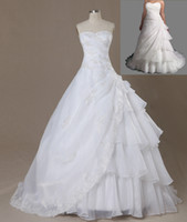 Wholesale Plus Size White Ivory lace organza a line Wedding Bridal Dress Prom Gown lace up back