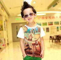 5T-6T 100-110-120-130-140 Round Neck Boys Cute Cartoon Printed Casual T Shirt Child Wear Fashion Round Neck Shirts Kids Summer Short Sleeve T Shirt Children T Shirts Tee Shirt