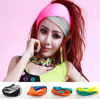 Wholesale New Fashion Candy Color Sports Yoga Hair Ribbon Wide Headband Wrap Head Turban