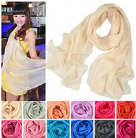 Wholesale New Arrival Korean Fashion Candy Color Wrinkled Scarves Lady Shawl Long Section Scarf