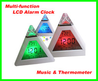 Wholesale 50pcs multi function Digital LED Pyramid Mood Electronic Thermometer LCD Music Alarm Clock