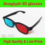 Wholesale 3D GLASSES Red magenta Blue Anaglyph D GLASSES plastic frame stereo Flat glasses for r b movie game