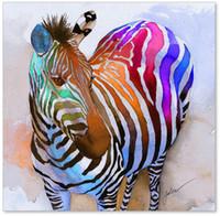 achat en gros de décorations d'impression de zèbre-Vente en gros - peinture à l'huile Hot Sell 100% Modern Giclee Wall Artwork Colorful Zebra Squat Décoration intérieure Art Prints on Canvas Fine Art