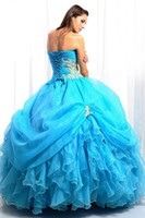 Wholesale Sexy Prom Ball Gown Quinceanera Dress Turquoise blue sweetheart organza applique Wedding Dresses jacket Evening Party Gown Sz4