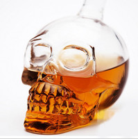 Wholesale 350ml Cool Skull Glass Wine Bottles D Crystal Head Vases for Drink Bar Decoration GZ005