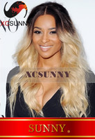 "Ombre Color Brazilian hair Natural Wave Celebrity Hairstyle Blonde Ombre Dip Dye Two Tone Wig 14""-22"" #T4 613 Lace Front Human Hair Wigs"