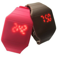 Wholesale Hotselling color new Colorful Soft Led Touch watch Jelly Candy silicone digital feeling screen watches mix Utop2012