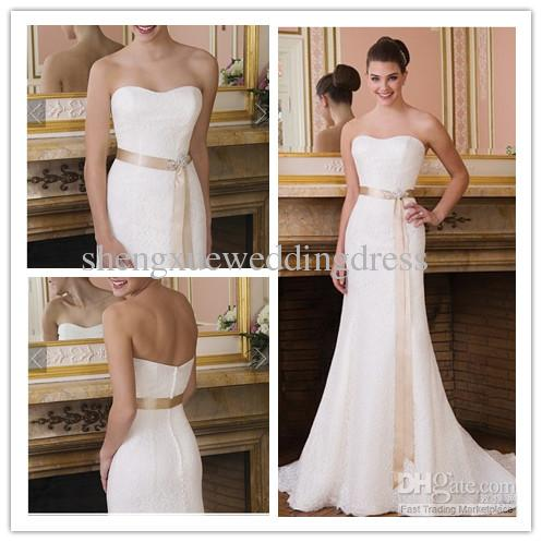 Discount Simple Elegant Strapless All Over Lace Detachable Satin ...