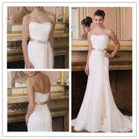 Wholesale Simple Elegant Strapless All Over Lace Detachable Satin Belt Beaded Motif Button Beach Wedding Dress