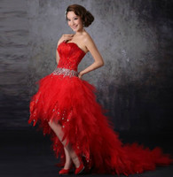 goose feathers - 2013 NEW Feathers Goose feather Beads Crystal Front Short Long Back Tulle Prom Short Wedding Dresses white red