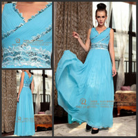 Chiffon Sleeveless Floor-Length Light Sky Blue V neck Lace Beaded Sash Chiffon Column Floor length Sleeveless Prom Dresses Evening Gowns A016