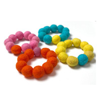 Wholesale Chunky Beads mm Round Wool Felt Ball Mixed colors