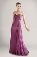 Wholesale 2013 Cheap Modern Dark Fuchsia Sweetheart A line Floor length Pleat Brooch Ruffles Draped Elastic Satin Chiffon Romantic Bridesmaid Dress
