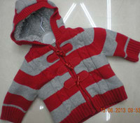 Wholesale baby boys striped hooded fleece Sweater Jumper winter cardigans sweaters coat jacket new arrival