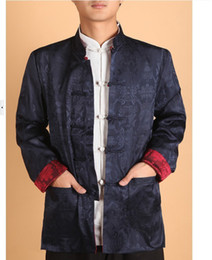 Double face Chinese men's silk jacket coat Blue and burgundy SZ: M L XL 2XL 3XL