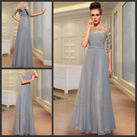 Chiffon 1/2 Sleeve Floor-Length 1 2 sleeves Lace Pleated Scoop neckline Chiffon Column Floor length Prom Dresses Evening Gowns A019