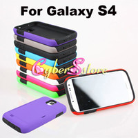 Plastic For Samsung  50pcs Hybrid 2 in1 Layers PC Plastic & Soft Silicone Credit Card Back Hard Shock proof Stand Case Cover for Samsung Galaxy S IV S4 i9500