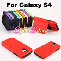 Plastic For Samsung  100pcs Hybrid 2 in1 Layers PC Plastic Soft Silicone Credit Card Back Hard Shock proof Case Cover for Samsung Galaxy S IV S4 i9500