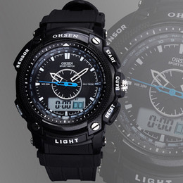 New OHSEN brand sport watch mens man digital analog display waterproof silicone band 30M Swimming black fashion watches hours for gift