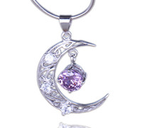 Traditional Charm amethyst costume jewelry - Moon Amethyst Crystal Charm Sterling Silver Dangle Pendant Fit Necklace For Women Costume Decor Jewelry DIY SD501
