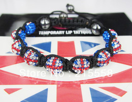 Wholesale Shamballa UK Flag Bracelet London Olympic Gift Czech Crystal Beads Paris Union Jack Bracelet