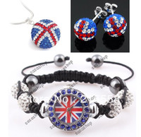Wholesale UK Flag Shamballa Watch Jewelry Set With Crystal Disco Ball Watches Necklace Earrings Studs Set