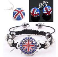 Fashion  shamballa necklace - UK Flag Shamballa Watch Jewelry Set With Crystal Disco Ball Watches Necklace Earrings Studs Set