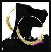 Wholesale Basketball Wives Earrings CZ Rhinestone Crystal Rondelle Hoops Earrings Pair