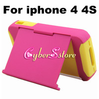 Plastic For Apple iPhone  50pcs Hybrid Stand PC Plastic & Soft Silicone ID Credit Card Holder Back Case Cover for iphone 4 4G 4S