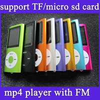 Wholesale portable mp4 player support gb gb gb gbTF card slim mp3 mp4 music player TFT screen FM radio earphone usb cable box