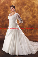 Wholesale 2013 Hot A Line wedding dresses V Neck Half Sleeves Appliqued Plus size Taffeta Wedding Gown BN