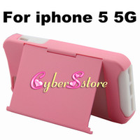 Plastic For Apple iPhone  50pcs Fashion Hybrid Stand PC Plastic & Soft Silicone ID Credit Card Holder Back Case Cover for iphone 5 5G
