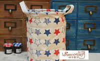 Wholesale New Zakka cotton linen storage basket bucket foldable storage bag laundry basket storage case