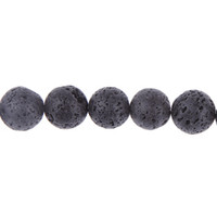 Wholesale 16mm Ball Black Lava Rock Gemstone Loose Spacer Beads mm hole Strand Fit Charm Bracelet Necklace Chain DIY Jewelry Craft Making GAQ6