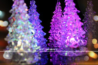 Wholesale Colors Changing Christmas Ornament Crystal Tree LED Night Light Festive Decoration Supplies