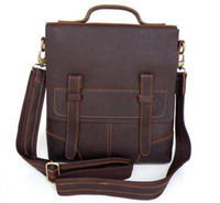 Wholesale Men s Style Briefcase Hand bag Shoulder Messenger Bag Vintage Tan Leather Factory Price Ca