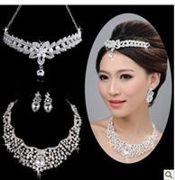 silver beautiful headdress - Free ship Hot beautiful luxury diamond Crystal Wedding Jewelry Set Bridal Accessorie set with Earrings Necklace Headdress