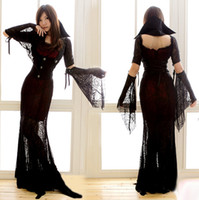 Wholesale Witch Halloween costume witch costume gothic banshee queen spider black vampire dress Costumes clothes