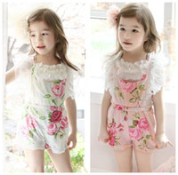 Wholesale 2013 Summer New Children Bontique Suspender Thouser Flower Floral Printed Lace Overalls Nice Girls Pants Trousers Pink Beige For Yrs