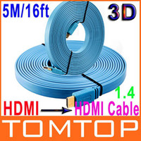 Wholesale 16FT M P D Flat HDMI Cable Male to Male HDMI for XBOX PS3 HDTV VCD DVD AV Cable V410