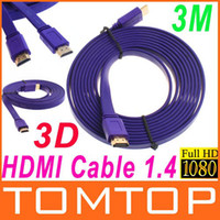 Wholesale 3M FT Full P D Flat HDMI Cable for XBOX PS3 HDTV HDMI Male to Male V389