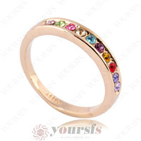 Wholesale Rhodium Plated Jewelry Unique K Rose Gold Planted Use Colorful Crystal Simulation of Diamond Studded Simple Lady Finger Ring R061R1