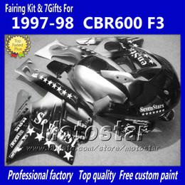 ABS Fairing kit for HONDA CBR600 F3 97 98 CBR 600 F3 1997 1998 CBR 600F3 97 98 black silver Sevenstar custom fairings