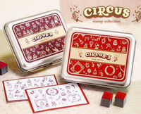 12-14 Years antique wooden toys - Retail Wooden circus cartoon vintage Antique Stamps seal diary carved gift craft toy DIY